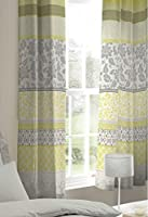 """Banded Floral Bird Yellow Grey Lined 66"""" X 72"""" - 168cm X 183cm Ring Top Curtains from Curtains"""
