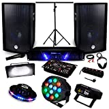 Pack Sono + Light Ampli AMP-300 + HP BMS-12 de 1200W + Pack 4 lumières Effet OVNI RVB Strobe Las PAR-MINI