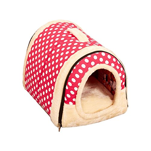 Luckiests Dog House Kennel Nest mit Matte Faltbare-Hundebett-Katze-Bett-Haus für Small Medium Hunde -