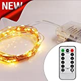 [Remote & Timer] Copper LED Fairy String Lights Battery Operated, 5 m/16ft, Pro 66 LED stellato Lights for Garden, Wedding, Party, Home (dimmerabile, IP65 impermeabile, warm white) by AMARS