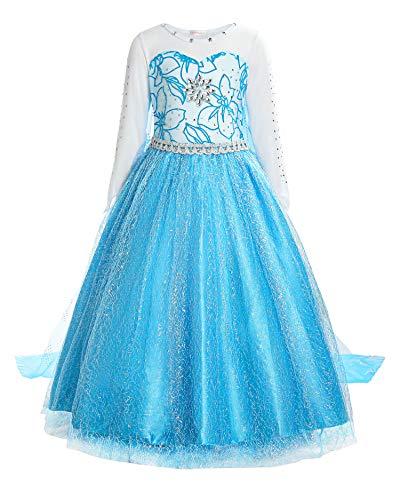 Fan Kostüm Nummer 1 - Mädchen Prinzessin Schneeflocke Süßer Ausschnitt Kleid Kostüme,  Blau, Gr. 140 (Herstellergröße: 140)