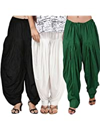 Rooliums (Brand Factory Outlet) Full Patiala Cotton Salwar Combo 3 Free size (Black, White and Green)