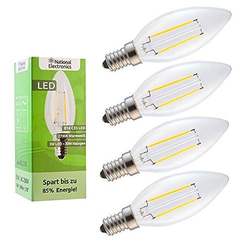 4x National Electronics® | E14 3W 300 Lumens LED | Lamp 230V AC 270 ° candle lamp warm white