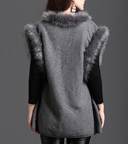 NiSeng Donna morbido pelliccia senza maniche ecologica corto cardigan gilet per inverno caldo Grigio