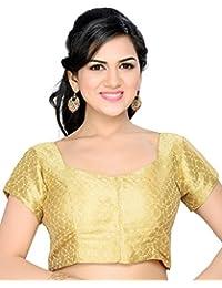 Studio Shringaar Wedding Gold Self Design Short Sleeve Padded Blouse