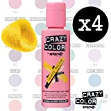 Crazy Colour Semi Permanent Hair Dye By Renbow Canary Yellow No.49 (100ml) Box of 4 by Renbow