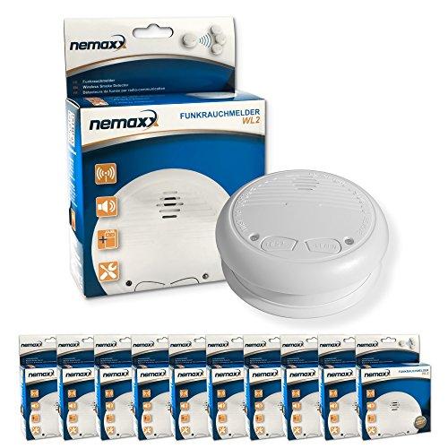 10x Nemaxx WL2 Funkrauchmelder ★ hochwertiger Rauchmelder Brandmelder Set Funk koppelbar vernetzt ★ nach DIN EN 14604