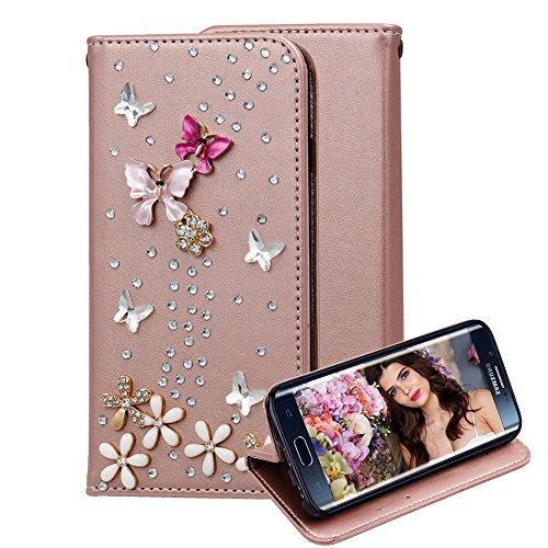Hülle für Samsung Galaxy S7 Edge Wallet Case Glitzer Bling Diamant Kristall, Aearl PU Leder Flip Cover Schutzhülle mit Kartenfach und Ständer für Samsung Galaxy S7 Edge + Displayschutz,Rose Gold roter Schmetterling
