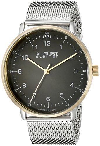 August Steiner Hommes de montre à quartz avec affichage analogique et bracelet en acier inoxydable Argenté Cadran Noir as8091ssg
