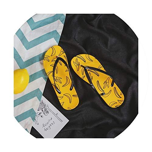 Fruits Printed Cartoon Summer Beach Slippers Flip Flops Girls Sandals Shoes Women's Shoes,8.5