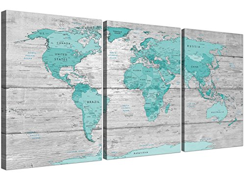 Grande azul gris mapa del mundo Atlas lienzo impresión 3Set 125cm de ancho–1299