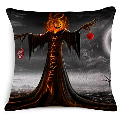 Scary Halloween Zitate (Ca. 18'' X 18'' Zoll Kürbis Kopf Halloween scary Horror Burg Baumwolle Leinen dekorative Wurfkissen decken Kissen Case(45*45cm) ,)