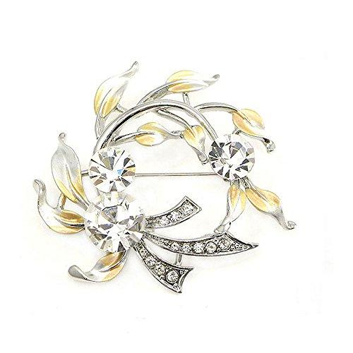 Glamorousky Elegant Brooch with Silver Austrian Element Crystal (327)
