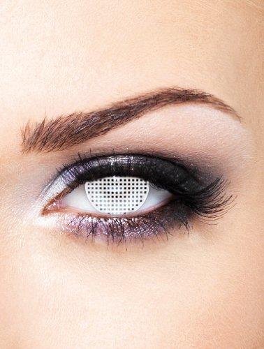 Edit farbige Gitter Kontaktlinsen Weiß ohne Stärke für Halloween und Karneval