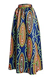 Bling-Bling Floral African Print Navy Maxi Skirt
