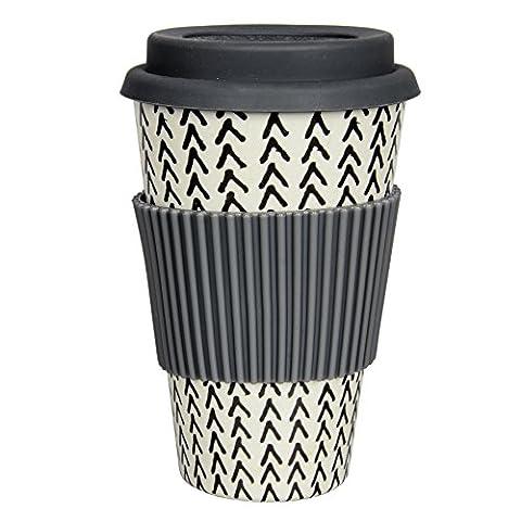 Coffe to go Becher aus Bambus mit grafischem Skandi Print | Spülmaschinenfest | Biologisch abbaubar (Fischgräte)