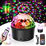 Discokugel LED Party Lampe Musikgesteuert Disco Lichteffekte DJ Licht 9W 9Colors Projektions Nachtlicht Ton Discolicht mit USB Kabel mit Fernbedienung für Weihnachten Kinder Kinderzimmer Party