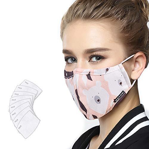 Lyanty Anti Pollution Maske Military Grade N99 Maske Waschbar Baumwolle Mund Masken Austauschbare Filter (Eine Maske + 8 filter)