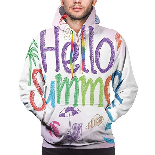 Men's Hoodies Sweatershirt,Hello Summer Motivational Quote with Cocktail Umbrella Palms Starfish Holiday Print,3D Printing Long Sleeve Casual Sweatershirt Tops,Size Small