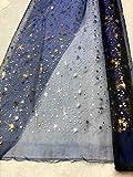Générique Tissus Bleu Organza Etoiles Argent Tissu Deco Noel Mariage au mètre Nappe Chemin de Table décoration Ciel etoilé Creche Largeur 150 cm