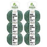 100% Alpakawolle in 50+ Farben (kratzfrei) - 300g Set (6 x 50g) - weiche Baby Alpaka Wolle zum Stricken & Häkeln in 6 Garnstärken by Hansa-Farm - Smaragd Heather (Grün)