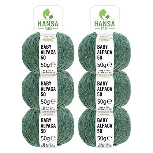 100% Alpakawolle in 50+ Farben (kratzfrei) - 300g Set (6 x 50g) - weiche Baby Alpaka Wolle zum Stricken & Häkeln in 6 Garnstärken by Hansa-Farm - Smaragd Heather ()