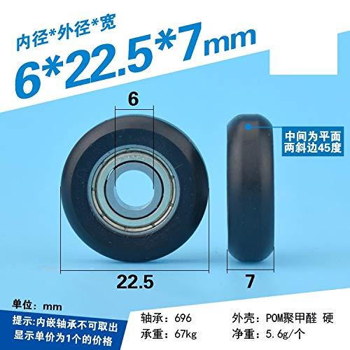 NO LOGO L-TAO-Pulley, 1pc 6 * 22,5 * 7 Nylon-Beutel Gummilager Scheibe for 3 D-Drucker Oubiao 20 CNC Graviermaschine Aluminium Gleis Rad (Größe : 6 * 22.5 * 7)