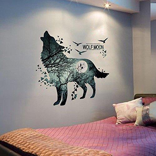 Preisvergleich Produktbild Aufkleber-Wolf-Mond-Wand-Aufkleber-WandtattooPVC-Material-Wald-wasserdichtes DIY Tierwand-Plakat für Kind-Raum-Dekoration-Wand-Abziehbild
