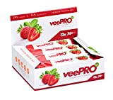 veePRO | Veganer Proteinriegel | Aus Erbsenprotein und Reisprotein | Eiweiß-Riegel mit Stevia | 12 x 74g | STRAWBERRY (Erdbeere)