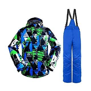 Formulaone Skianzug Set, Schnee Professionelle Ski Anzüge Erwachsene, Wild Ski Jacke Herren, Outdoor Windproof Ski Hosen Für Männer Blau Grün M
