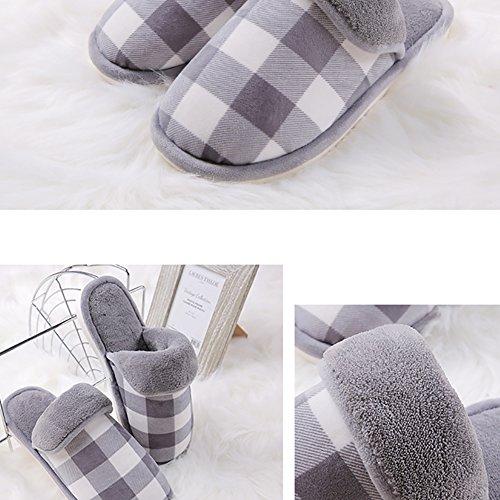 Winter Baumwolle Pantoffeln Plüsch Weiche Wärme Hausschuhe Kuschelige Home Rutschfeste Slippers mit Cartoon für Herren Damen Grau