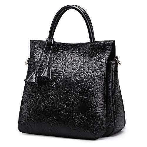Bedolio First Layer Cowhide Embossed Shoulder Bag Fashion Handbag diagonal Bag Casual Leather Handbag (Size: 27CM*16CM*30CM), Black -