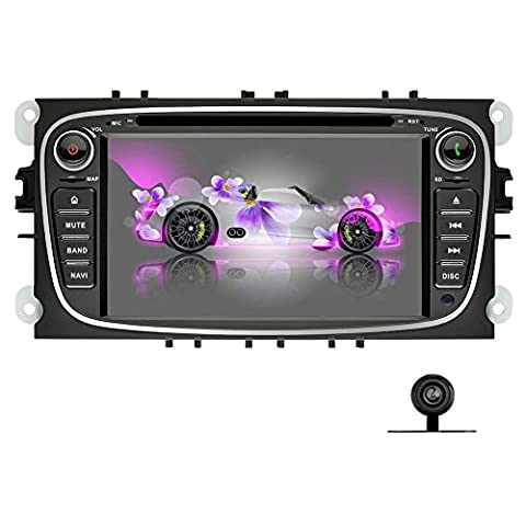 YINUO 7 inch Android 5.1.1 Lollipop 2 Din Quad Core Car Stereo HD 1024*600 Touch Screen Sat Nav Headunit for FORD Mondeo 2007-2011, FORD Focus 2007-2010, FORD S-Max 2008-2011, FORD C-Max 2008-2010,FORD Galaxy 2010-2011,Support DAB/Bluetooth/Steering Wheel Control/AV-IN/1080P,Free External Mic+8GB Map Card+Backup