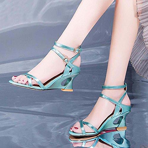 Onfly Donne Pepe punta Sandali Tacco a cuneo Cinturino alla caviglia Fibbia della cintura Pompe romano Tacchi alti Sandali Blue