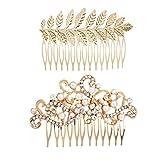 Lurrose - Peineta para novia con perlas de cristal y diamantes de imitación, para niñas y mujeres