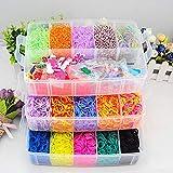 Queta ToWinle Loom Bänder Kit mit 15000 Rainbow Loom Bands in 3 Schichten Aufbewahrungsbox mit Webrahmen und Haken Rainbow Loombänder Luxuriös Loombänder Kasten Set für Armbänder