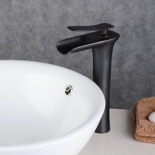 sserfall Wasserhahn Bad Mischbatterie Badarmatur Waschbeckenarmatur Waschbecken Badezimmer Hoch Öl eingerieben Bronze,Beelee BL9009BH ()