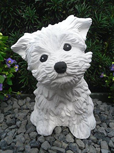 Steinfigur Hund, Gartenfigur Steinguss Tierfigur Weiß