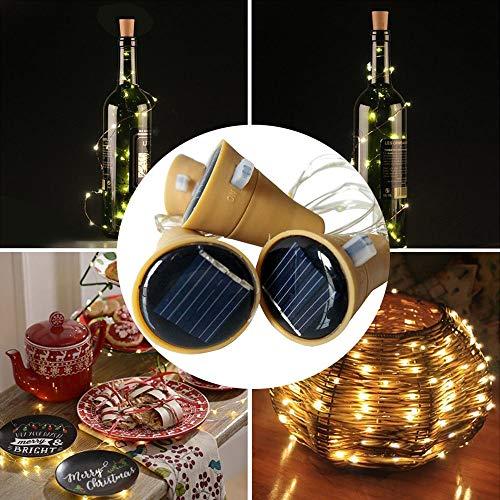 Solar LED Lichterkette Weinkorken Deko Licht Drahtlichterkette Flaschenlampe (6 X Warm White)