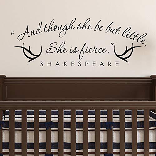 pegatina de pared y aunque ella sea, pero pequeña, ella es feroz shakespeare wall quotes stikers decal para la decoración de la habitación