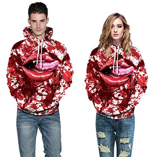 Fenverk Damen Herren 3D Druck Kapuzenpullover Hoodie Sweatshirt Grafik Langarm Pullover Top Jumper Unterhaltung Shirt Festival Party Kleidung S-5XL(C rot,M)