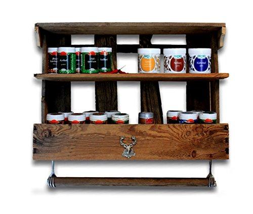 Gewürzregal Küchenregal aus alter Weinkiste, Upcycling Palettenmöbel