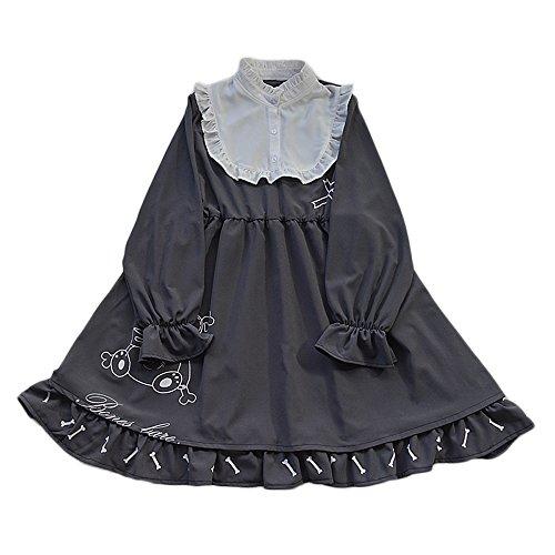 Rock Lolita (lolita - bär und knochen falbala lange ärmel doll kleid für mädchen (L))