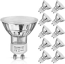 SHINE HAI 10-Pack LED GU10 Light Bulbs 50W Halogen Bulbs Equivalent, MR16 3.5W, Warm White 3000K, Non-Dimmable, 350Lm, 120° Beam Angle, Energy Saving Light Bulbs, Recessed Lighting