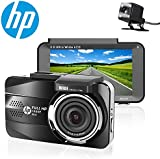 HP Dash Cam front and rear Dual Lens In Car Camera DVR Full HD 1080P,3.0'' IPS Screen,Night Vision,G-sensor, Motion Detection,Parking monitor