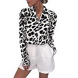 Yvelands Damen Mode Langarm T-Shirt Leopard Print Button Umlegekragen Bluse Shirt(CN-S,Weiß)