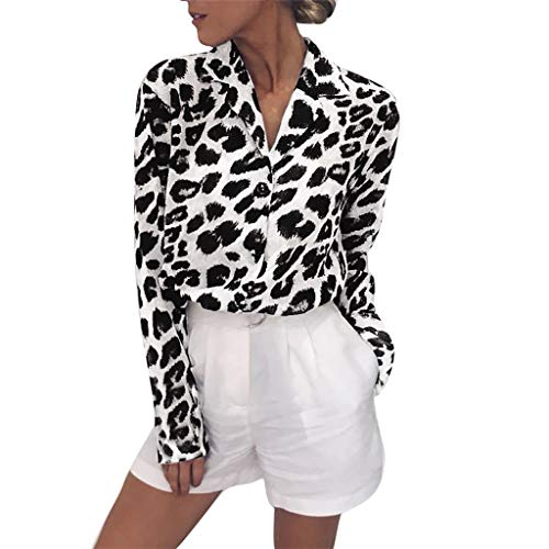 Suitray Langarmshirts Damen Große Größen Mode Frauen Leopardenmuster Lange Ärmel Taste Unten Hemden Leopardenmuster Sweatshirts Sweater Pullover Blusen Hemd Oberteile Freizeit T-Shirt Mädchen Teenager