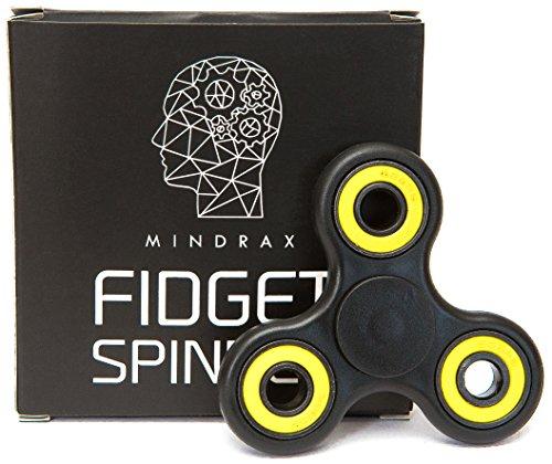 Fidget spinner mindrax | antistress per le dita di alta qualità con cuscinetto in ceramica ad alta velocità | tempo di rotazione 1-2 min (nero/giallo)