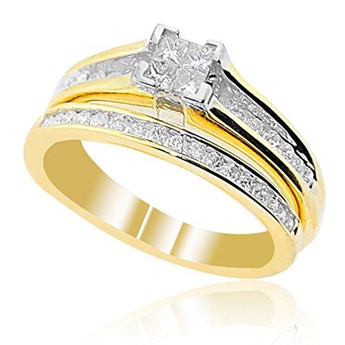 rings-midwestjewellery. COM Damen 10K Gelb Gold Verlobungsring und Ehering Set 1/2cttw Diamant (Gelber Princess-cut Diamant-ring)
