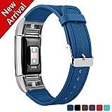 Fitbit Charge 2 Bracelet en cuir, Kutop Bande de Remplacement Réglable Sangle Rechange avec Métal Connecteurs Accessoires pour Fitbit Charge 2